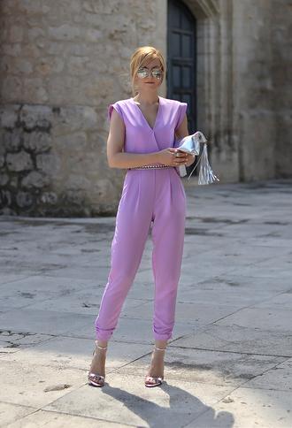 oh my vogue jumpsuit belt shoes sunglasses bag make-up nail polish