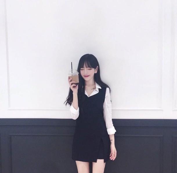 dress black dress white top