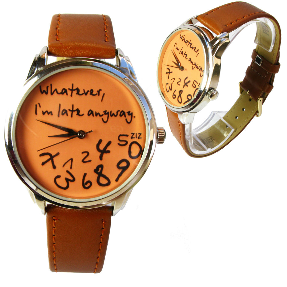"Orange/brown ""Whatever, I'm late anyway"" watch FOR A PENNY! 
