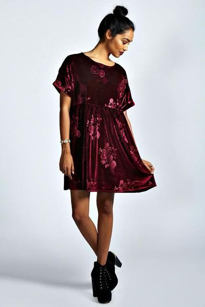 dress red velvet velvet dress smock dress floral red floral dress floral velvet short dress