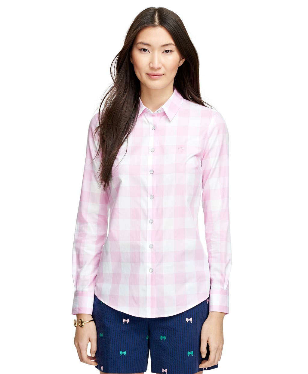 Women 39 s red fleece teal gingham shirt brooks brothers for Pink gingham shirt ladies