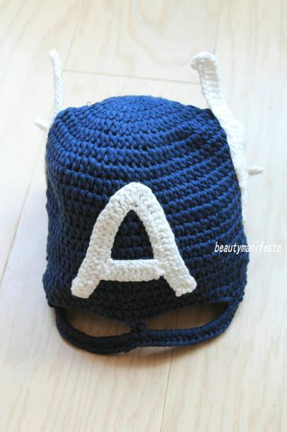 captain america crochet superheroes kids fashion boy girl baby clothing  kids fashion handmade character hats 612e25f61134