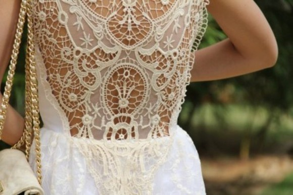 dress open back white crochet
