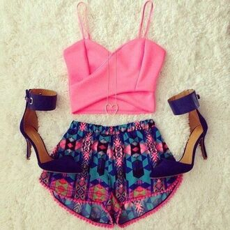top pink top pink girly shorts colorful colourful shorts cute outfits cute outfits help for help