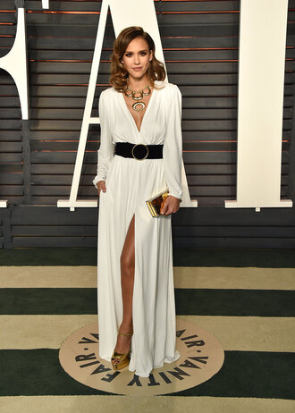 dress gown prom gown prom dress jessica alba oscars 2016 white white dress slit dress sandals necklace clutch belt