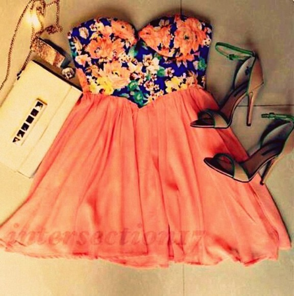 dress cute outfit weheartit summer party fashion high heels bag blue gold floral cute dress strapless bralet bralette spring