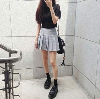 skirt american apparel tennis skirt cute girl kfashion asian t-shirt black top