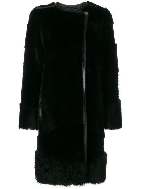 coat fur women leather black