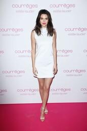 dress,white dress,white,kendall jenner,short dress,shoes,sandals