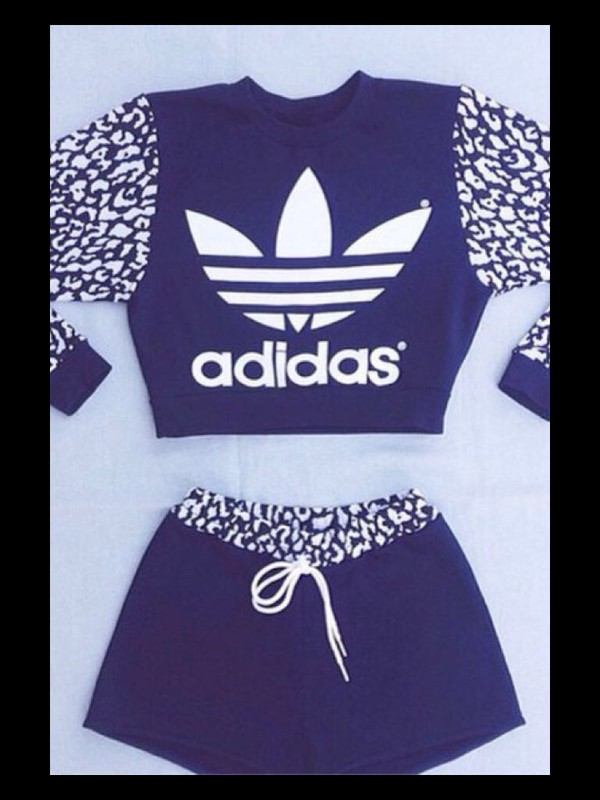 Top Adidas Black White Shorts Matching Set Two Piece