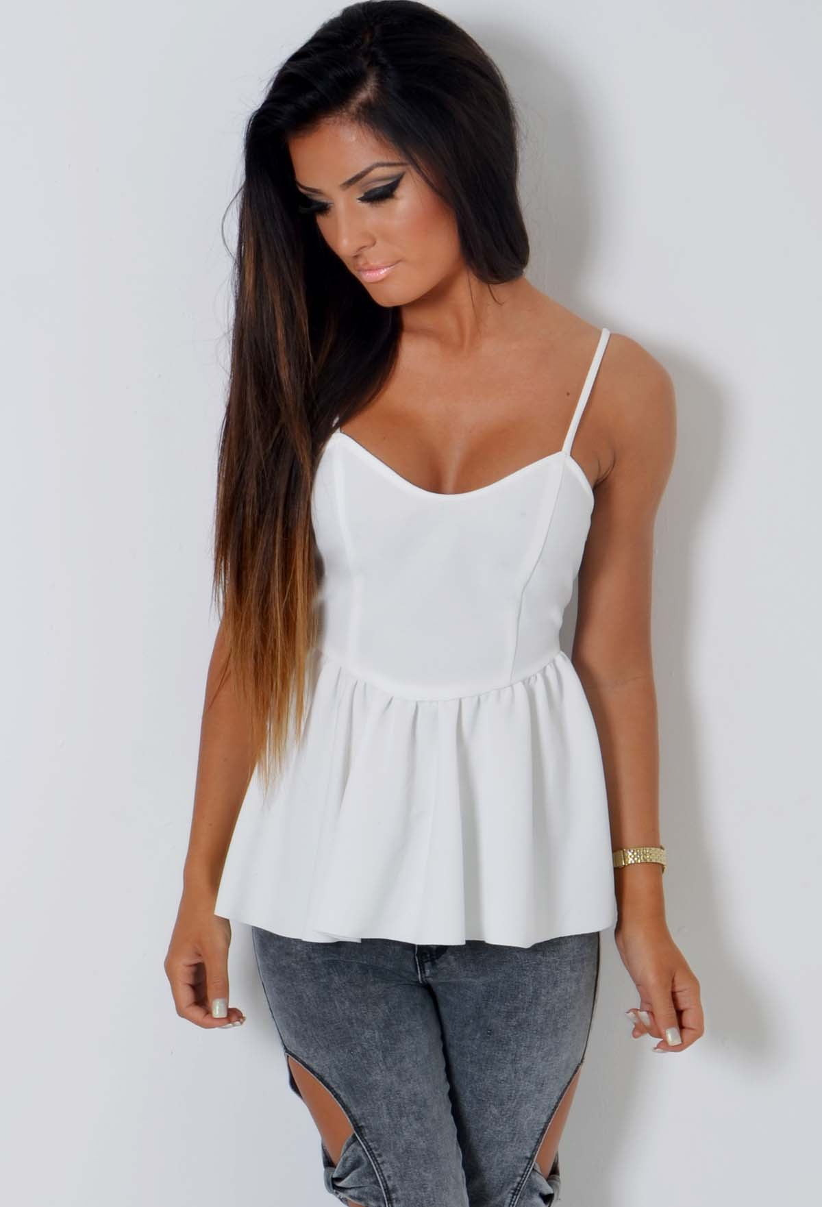 Frida White Textured Peplum Frill Panel Top | Pink Boutique