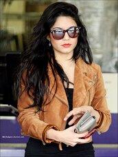 vanessa hudgens,jacket,perfecto,brown perfecto,blouse