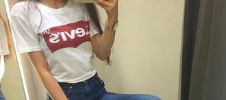 shirt levi's white cute t-shirt