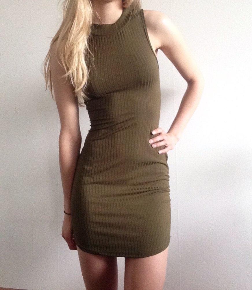 Womens Stripped Hatler Bodycon Dress Mini Club Party Dress