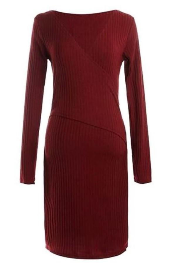 burgundy dress long sleeve bodycon bodycon dress wrap dress knitted dress www.ustrendy.com