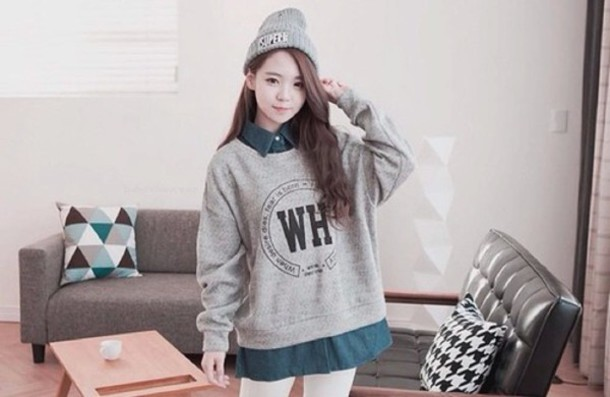 sweater grey sweater kawaii sweater dress