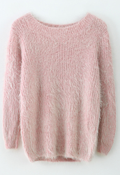 sweater,fluffy,pink,long sleeves