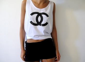 майка jumpsuit skirt shorts shirt chanel fake chanel black and white tank top t-shirt crop tops black
