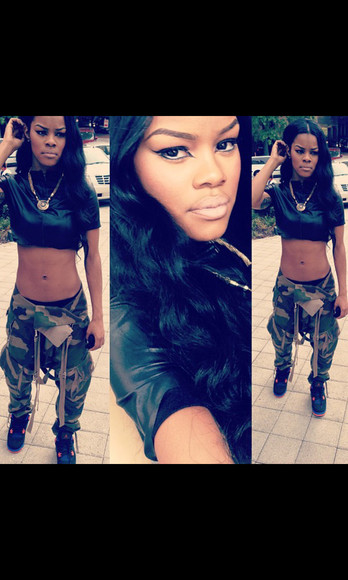 pants teyana taylor lether camouflage leather
