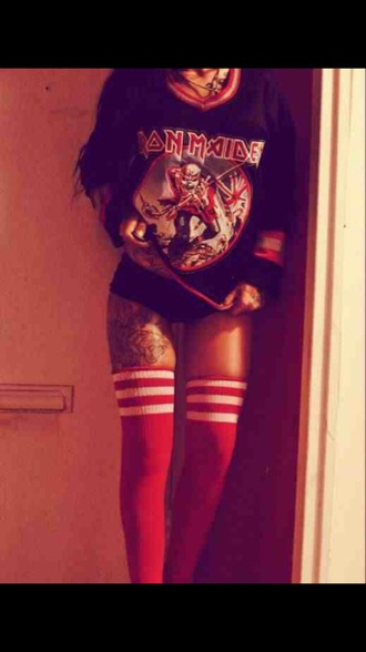 striped iron maiden red band knee high socks band merch