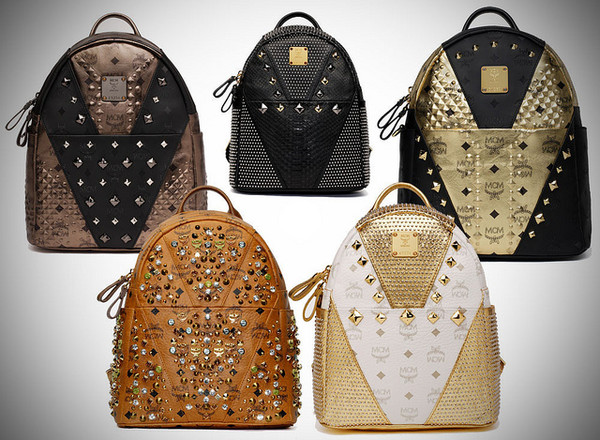 bag backpack gold studs mcm