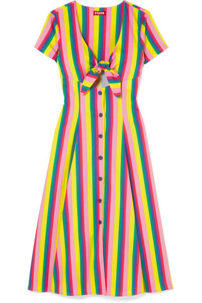 STAUD - Alice Tie-front Striped Cotton-blend Poplin Dress - Pink