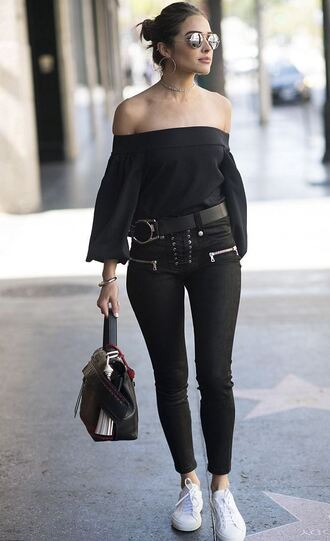 pants off the shoulder sneakers olivia culpo blouse purse sunglasses top black skinny pants lace up pants bardot top