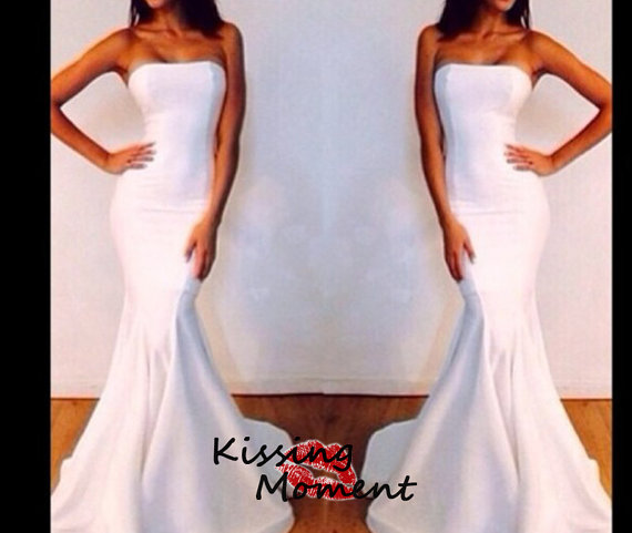 Sexy mermaid white prom dressslim stylish prom by kissingmoment