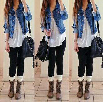 jacket shirt jewels bag leggings leg warmers shoes blouse coat