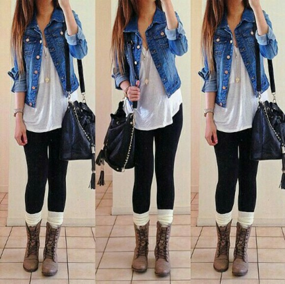 leggings bag shirt jewels jacket legwarmers