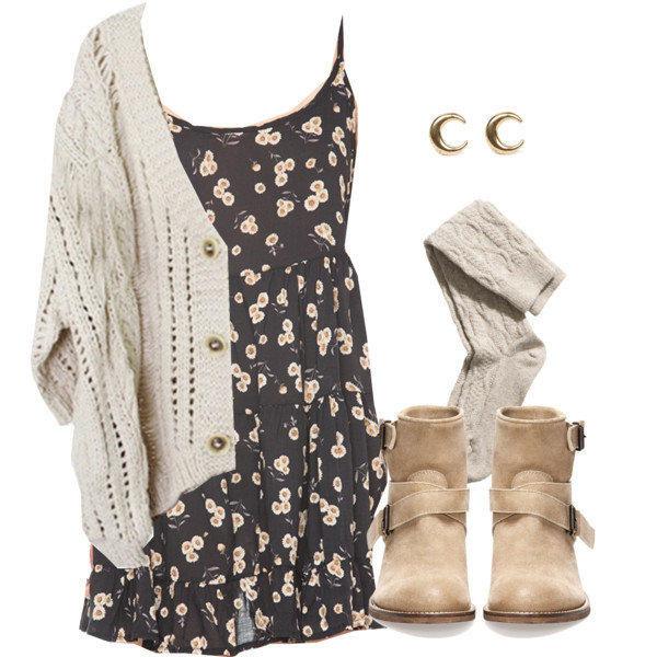 dress knitted sweater tan shoes floral dress floral dress sweater shoes cardigan cream moon earrings short dress summer dress floral style