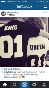 shirt,king queen,t-shirt,couples shirts,bag,matching couples,king,queen,instagram,number,black and white,etsy,black t-shirt,king and queen