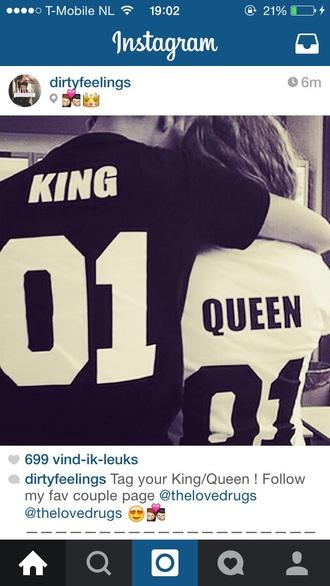 shirt king queen t-shirt couples shirts bag