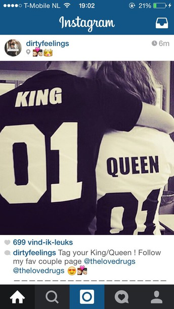 shirt king queen t-shirt couples shirts bag matching couples king queen instagram number black and white etsy black t-shirt king and queen