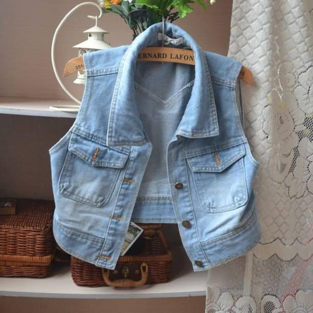 Короткая жилетка джинсовая своими руками 64