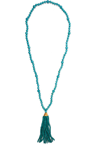 beaded necklace gold turquoise jewels