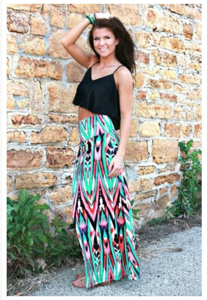 Skirt: colorful, maxi skirt, turqiose, high waisted - Wheretoget