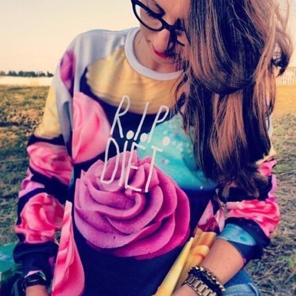 sweater kcloth jumper cupcake retro rip diet unisex sweatshirt