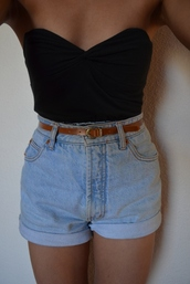 shorts,High waisted shorts,shirt,top,strapless top,strapless,denim shorts,pale denim,summer,hipster,denim vintage levis,denim,shoes,vintage,jeans,cute,style,tumblr,casual,tank top,sleeveless top,black top,high waisted,high waisted denim shorts,tumblr clothes,black boobtube,black,boobtube,tight,light blue,50s style,sweetheart neck line,pants,blue jeans high shorts,fashion,belt,grunge tumblr,tumblr short,summer shorts,lush