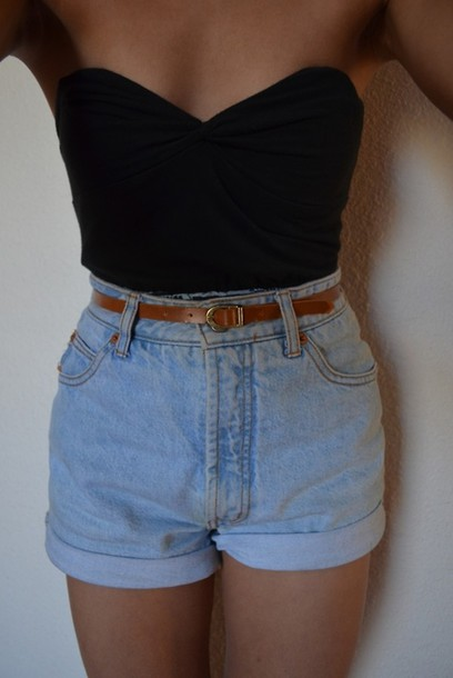 shorts High waisted shorts shirt top strapless top strapless denim shorts pale denim summer hipster denim vintage levis denim shoes vintage jeans cute style tumblr casual tank top sleeveless top black top high waisted high waisted denim shorts tumblr clothes black boobtube black boobtube high waisted denim shorts tight light blue 50s style sweetheart neck line fashion denim shorts belt High waisted shorts grunge tumblr tumblr short summer shorts High waisted shorts lush