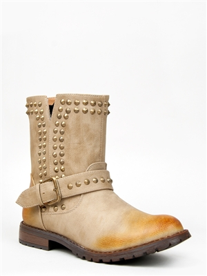 Bamboo KACY-01 Studded Flat Ankle Boot | Shop Shoes