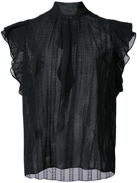 Ulla Johnson - ruffled top - women - Silk - 4, Black, Silk