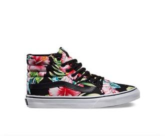 shoes black pink floral shoes vans sneakers vans