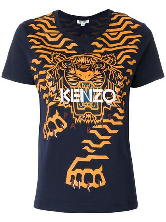 t-shirt shirt women tiger cotton blue top