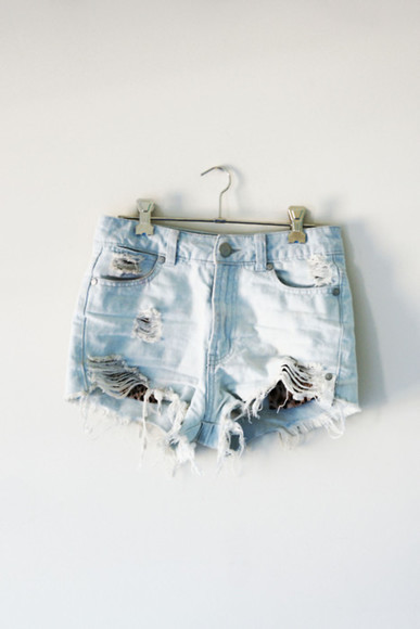 shorts light wash high-waisted shorts distressed shorts