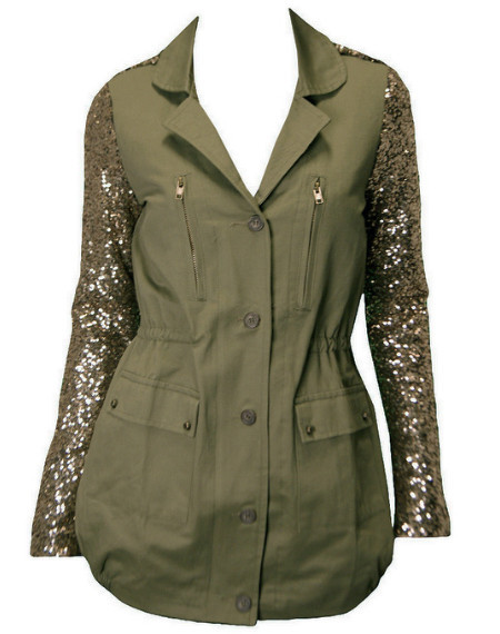 Trocadero Sequin Sleeve Jacket-green – #NYLONshop