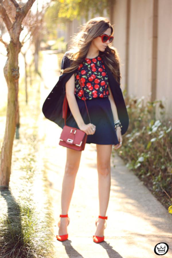 fashion coolture blogger top skirt sunglasses bag shoes