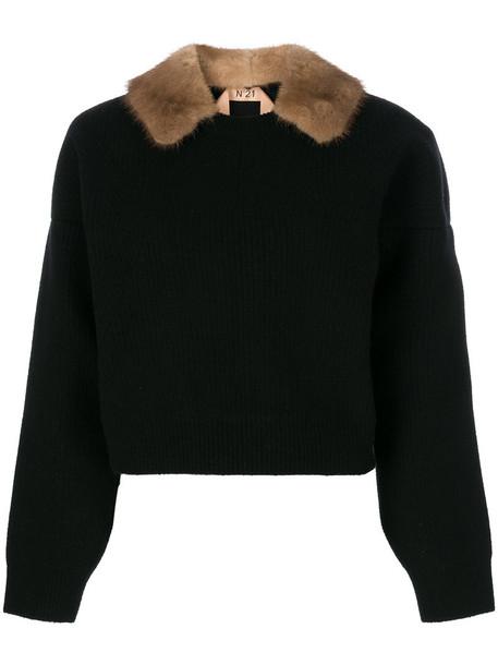 No21 jumper fur women black wool sweater
