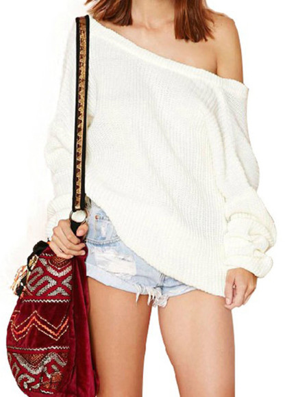 sweater white pullover loose off-shoulder design v back sweater batwing knitted cardigan pullovers