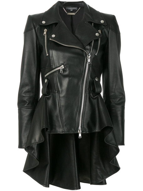 Alexander Mcqueen jacket biker jacket women leather black silk